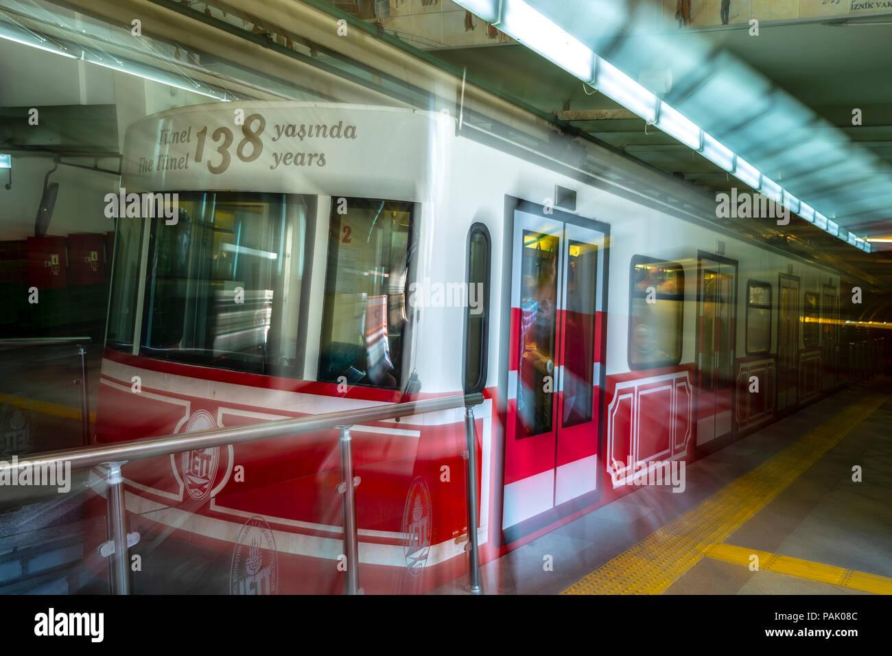 Underground funicular (aka the Tunel), Istanbul, Turkey - Stock Image