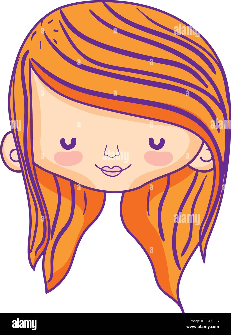 beauty woman head with long hairstyle Stock Vector