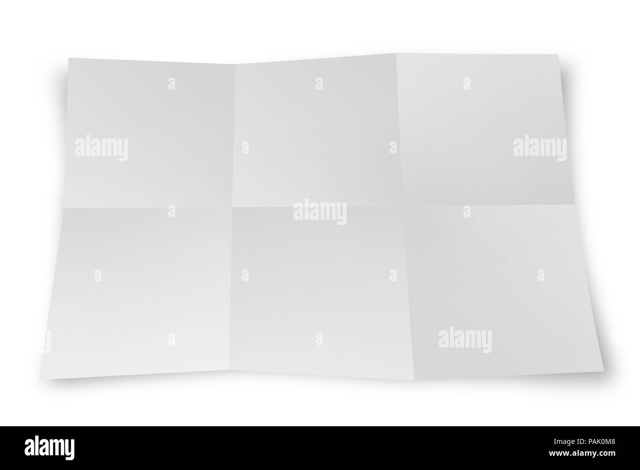 White paper sheet  folded isolated - Stock Image