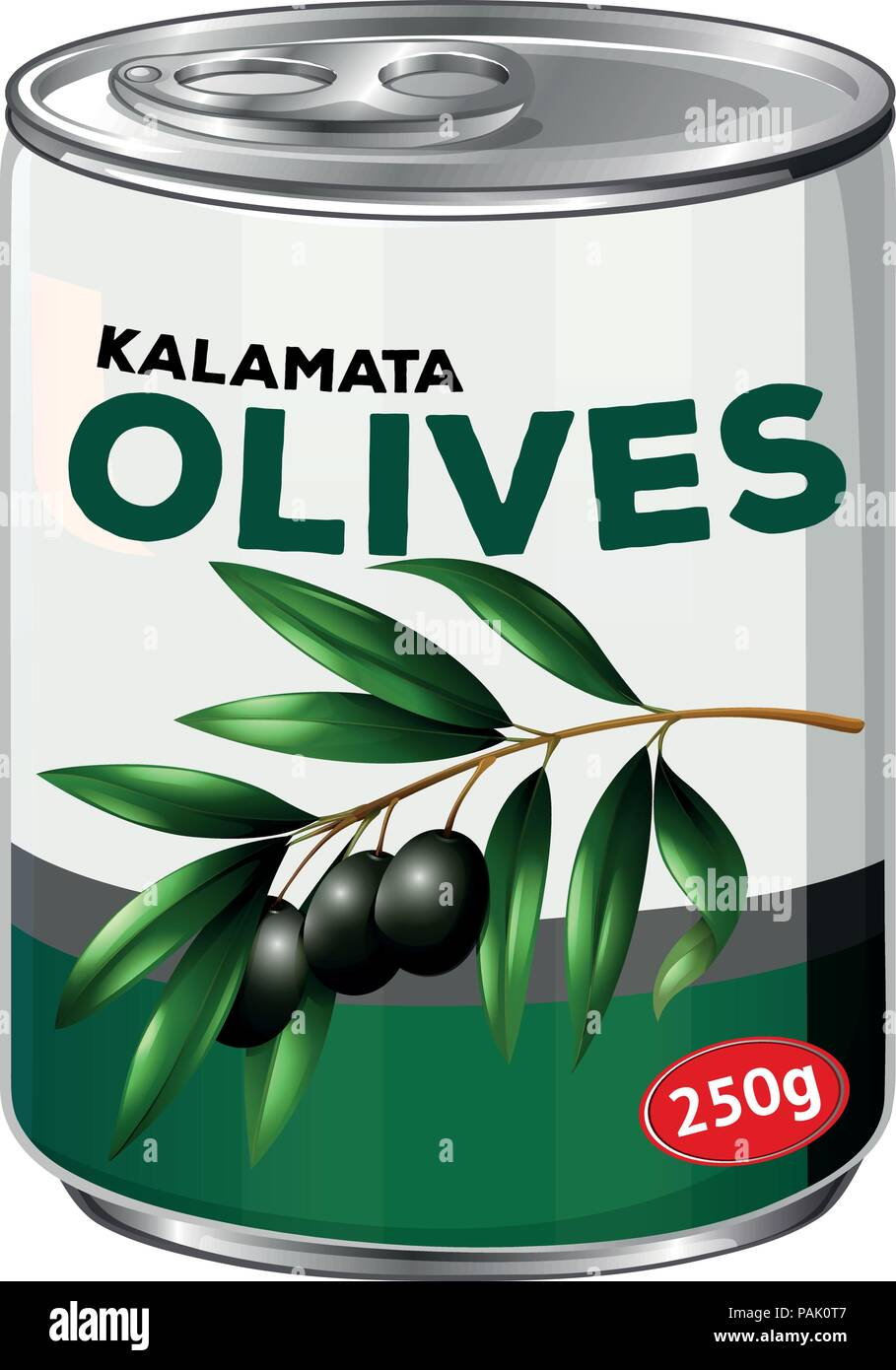 A tin of kalamata olives illustration - Stock Vector