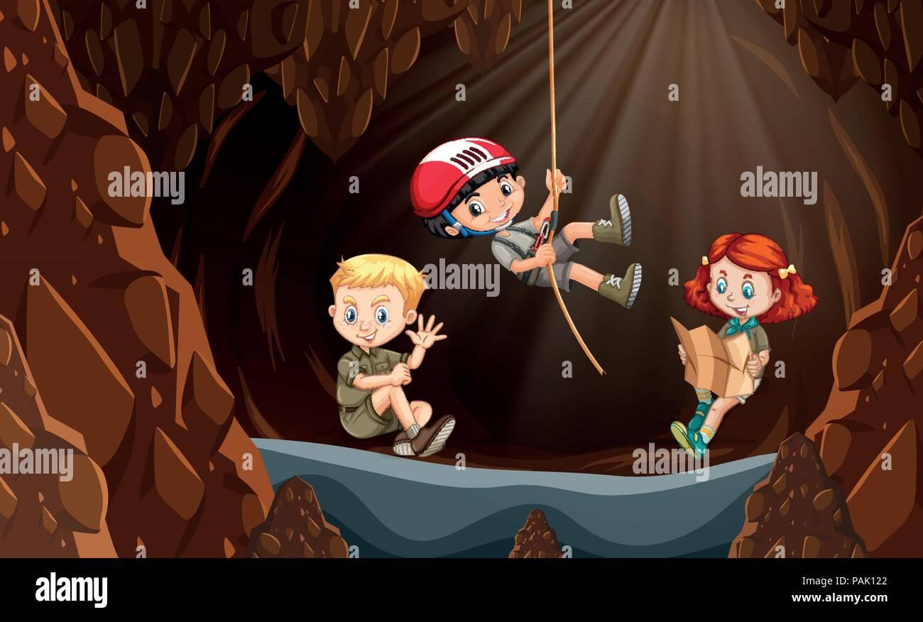 Children exploring the cave illustration - Stock Vector