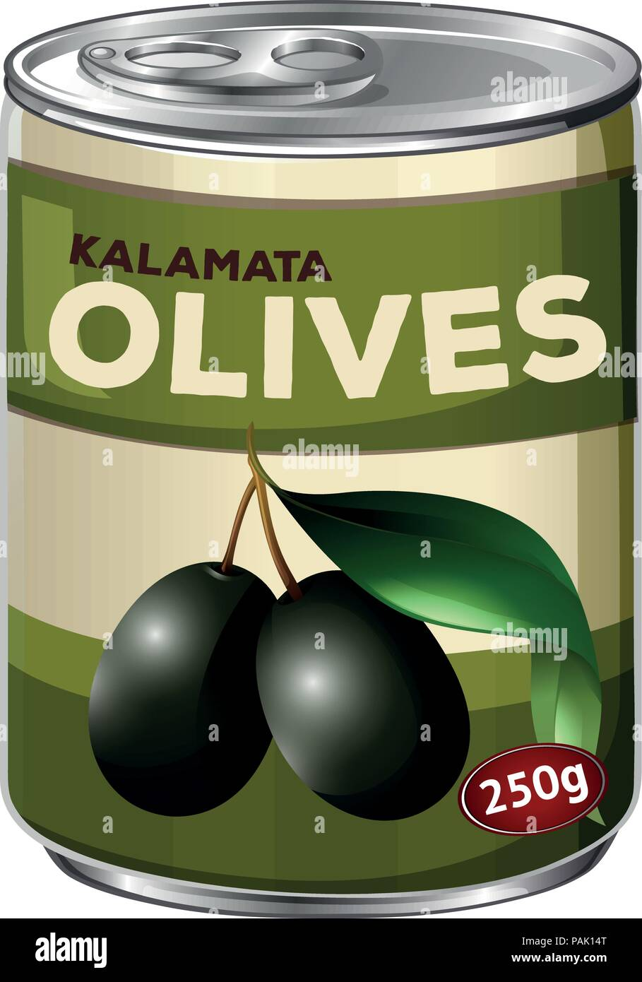 A tine of kalamata black olives illustration - Stock Vector