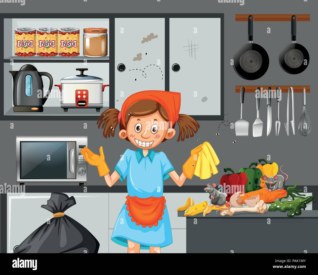 A Maid Cleaning Dirty Kitchen Illustration Stock Vector Art