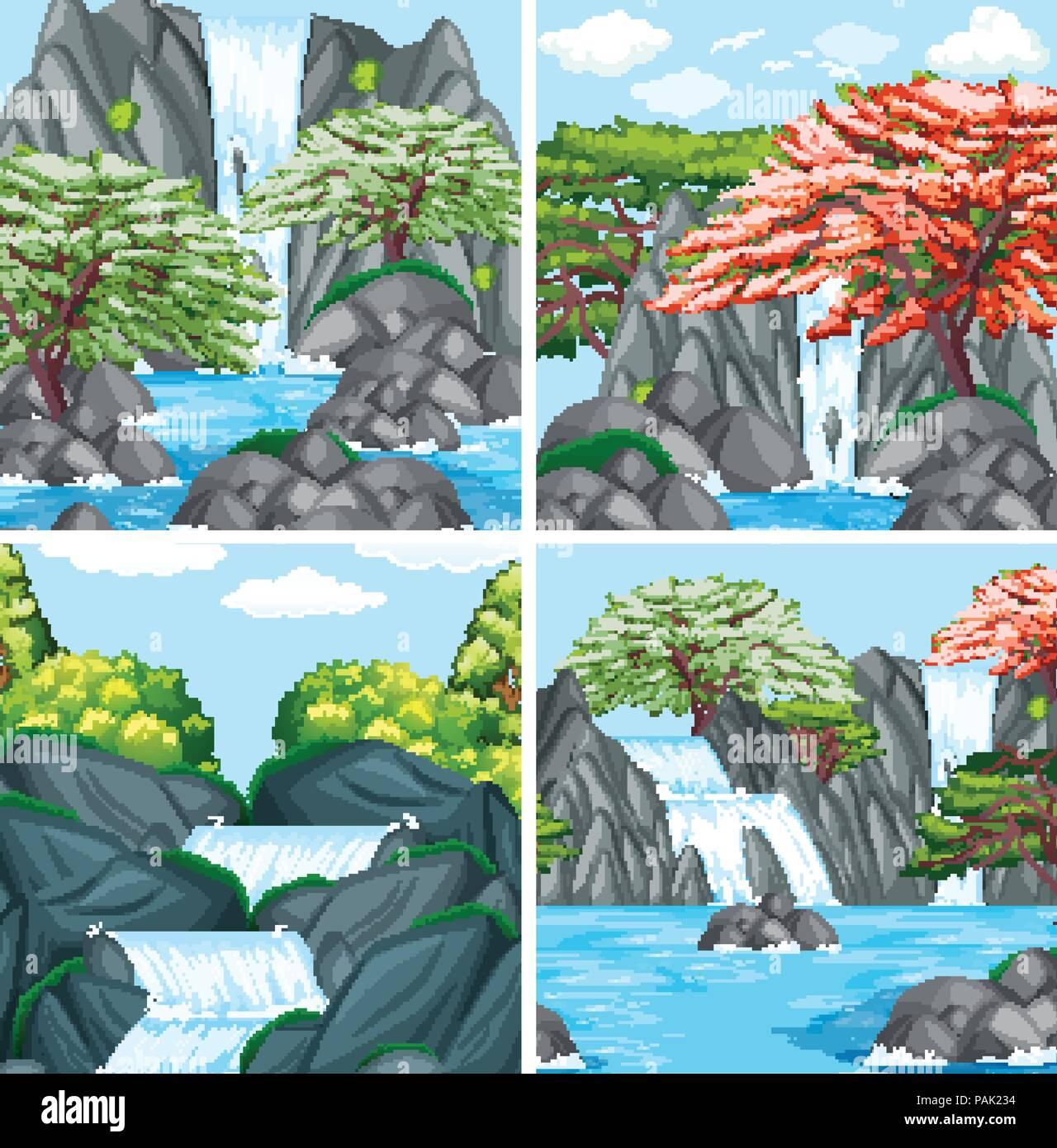 A set of beautiful waterfall illustration - Stock Vector