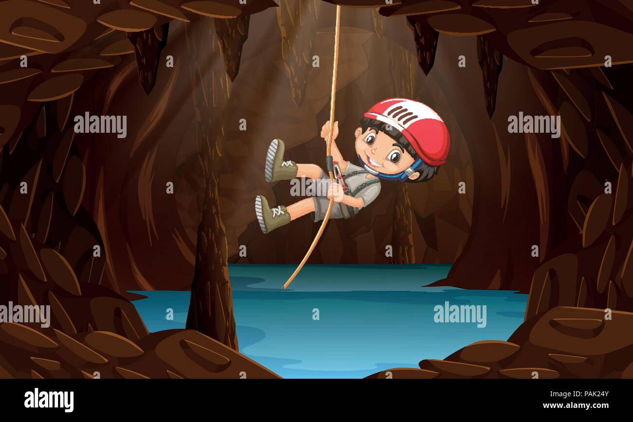 A boy exploring the water cave illustration - Stock Vector