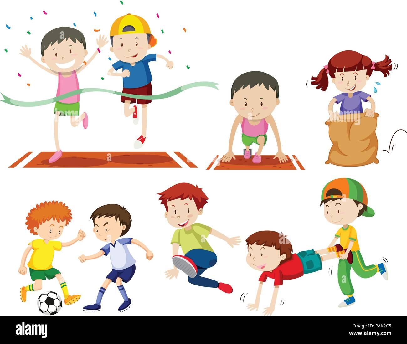 Set of kids doing sport activies illustration - Stock Vector