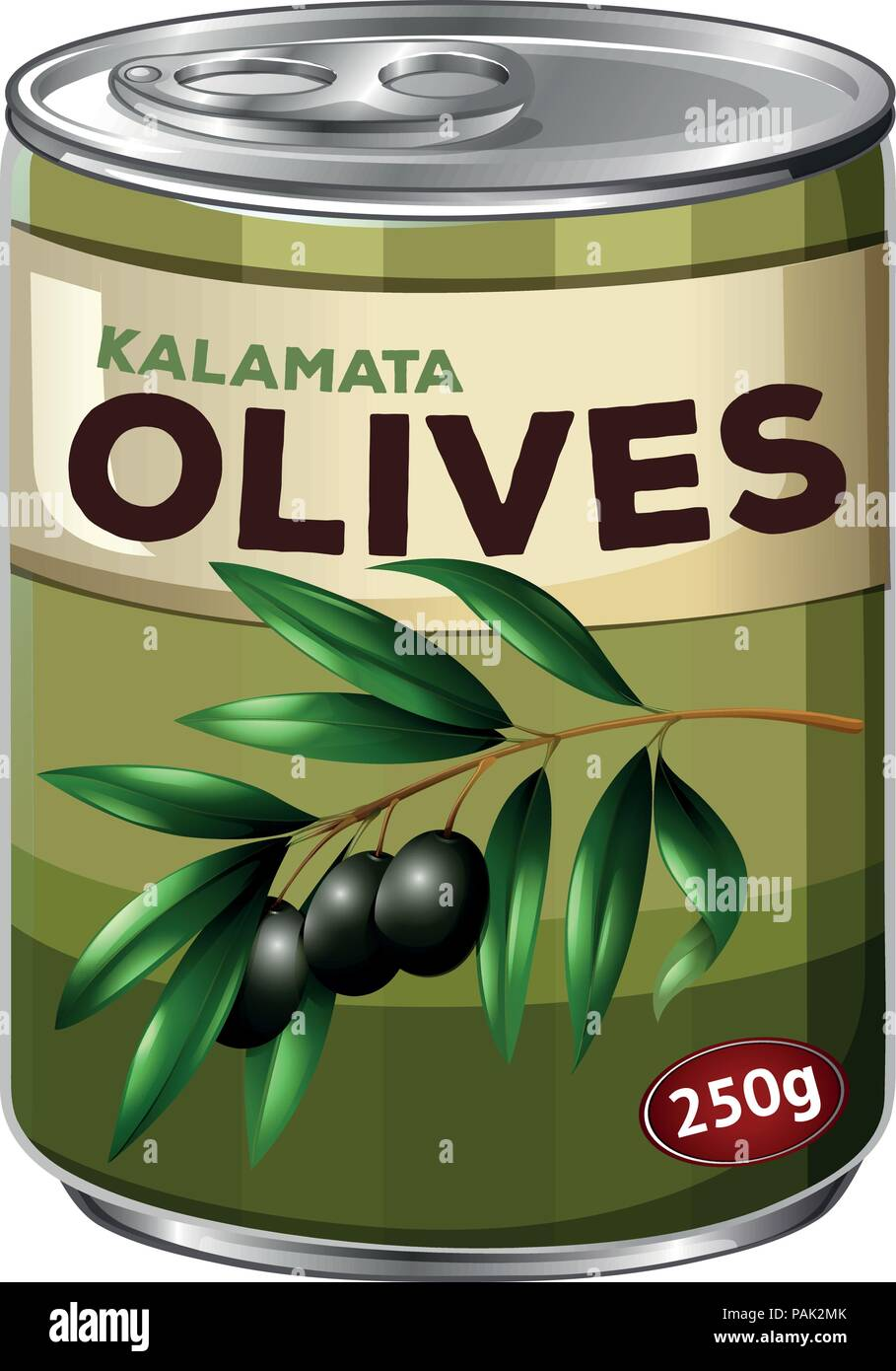 A Tin of Black Olive illustration - Stock Vector