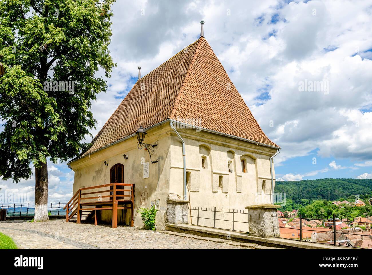 Blacksmith's Tower in Sighisoara World Herritage site in Transylvania region of Romania - Stock Image