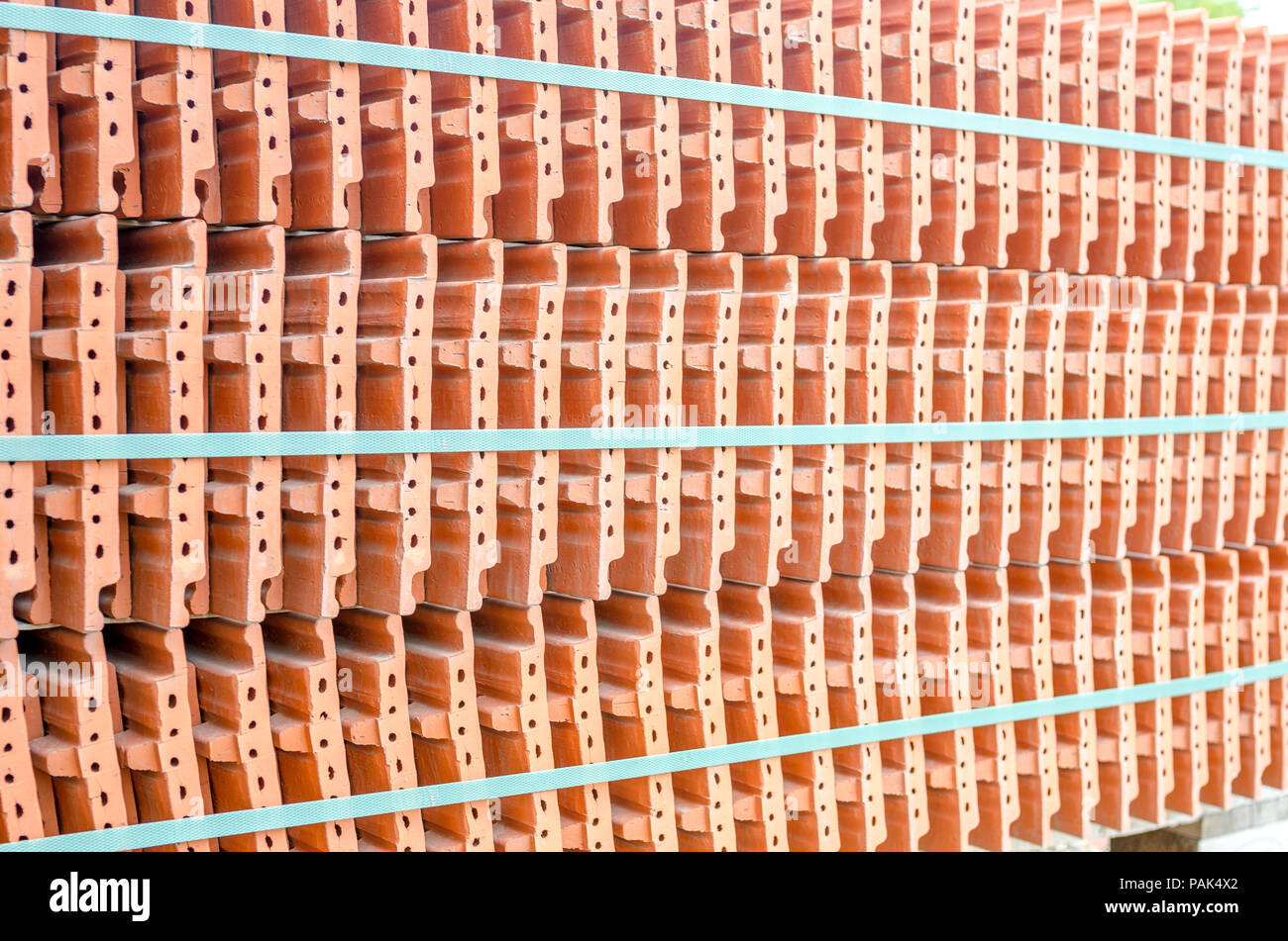 Ceramic Roof Tiles In A Stack On A Construction Site Stock Photo