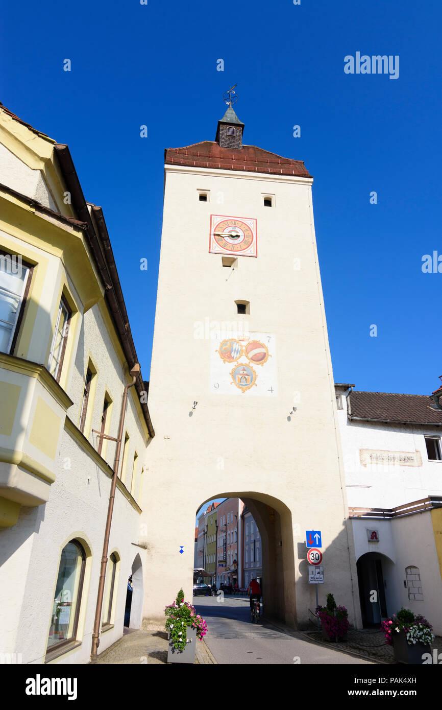 Neuötting: city gate Burghauser Tor in Germany, Bayern, Bavaria, Oberbayern, Upper Bavaria Stock Photo