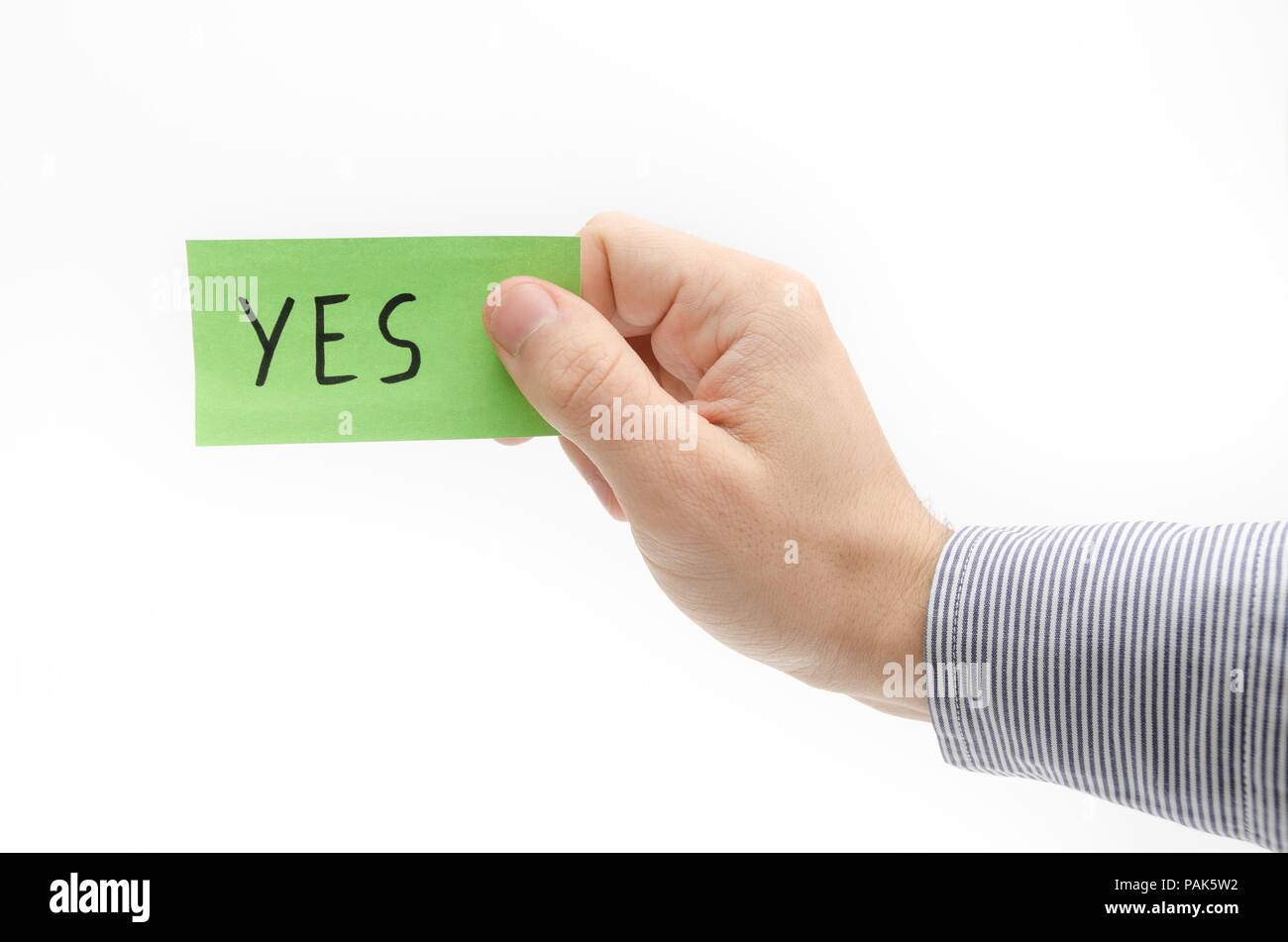 YES word suggesting approval and confirmation - Stock Image