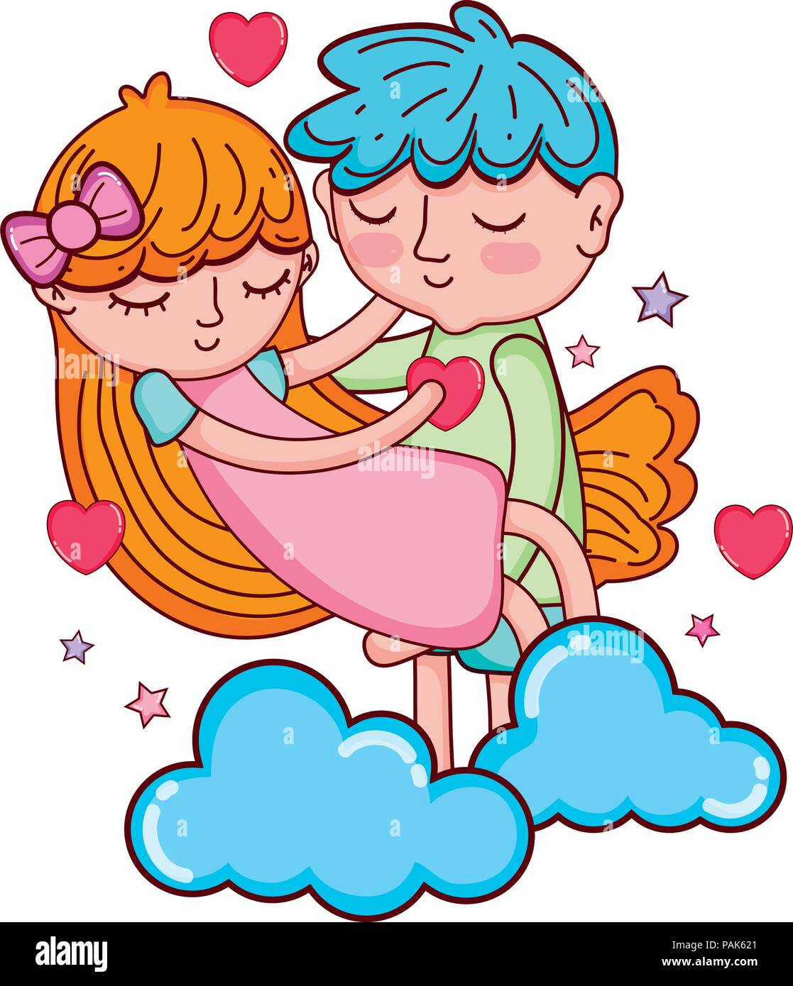 Boy And Girl Sleeping With Hearts And Clouds Stock Vector Art