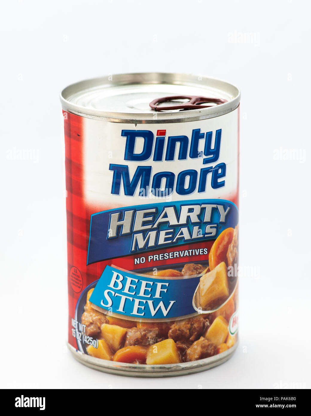 A can of Dinty Moore Hearty beef stew with a pull tab top isolated on white. - Stock Image