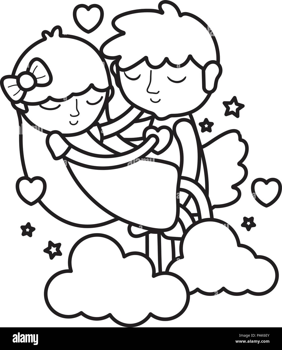 Line Boy And Girl Sleeping With Hearts And Clouds Stock Vector Art