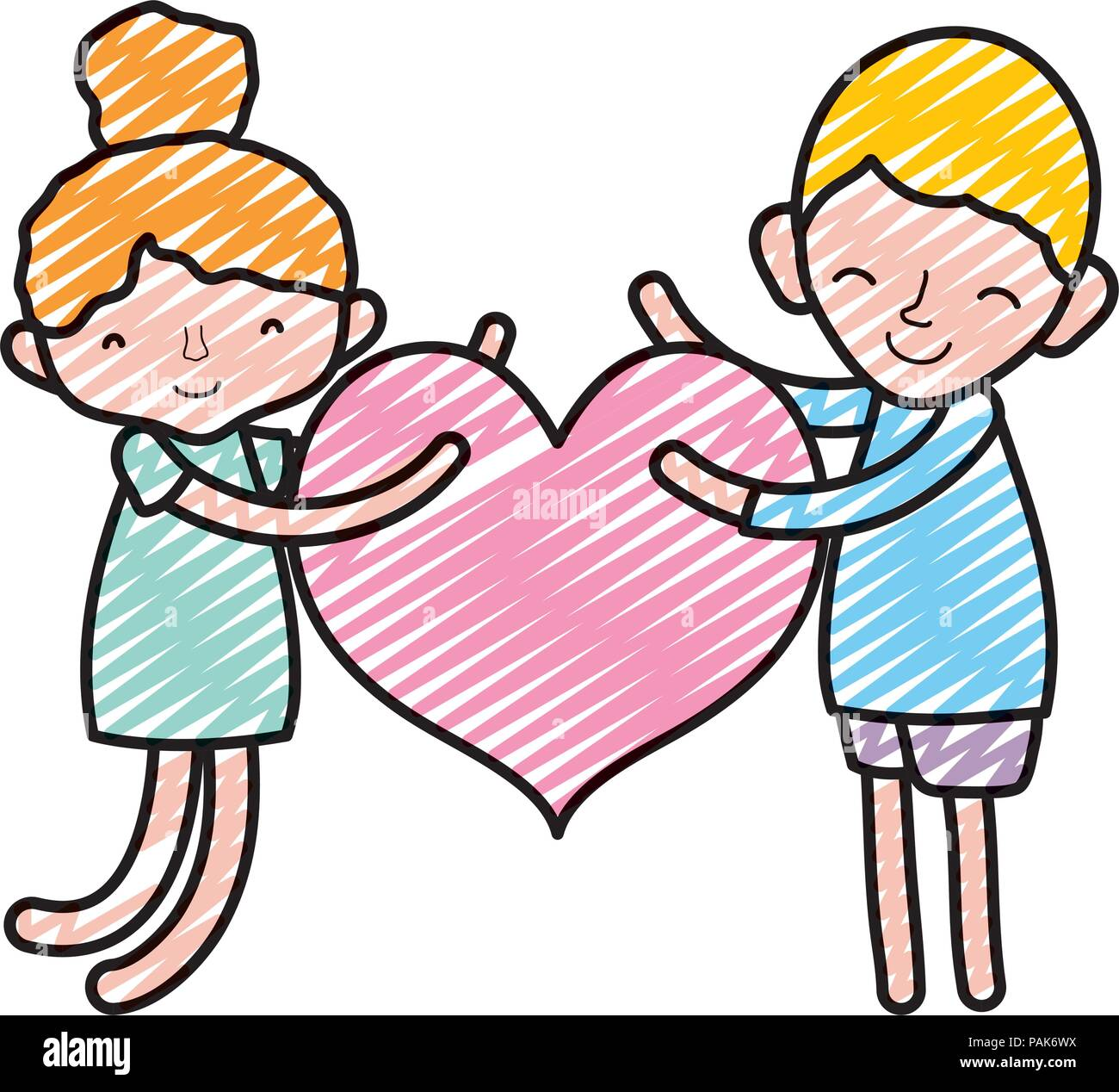 Doodle Boy And Girl Sleeping With Fashion Heart Stock Vector Art