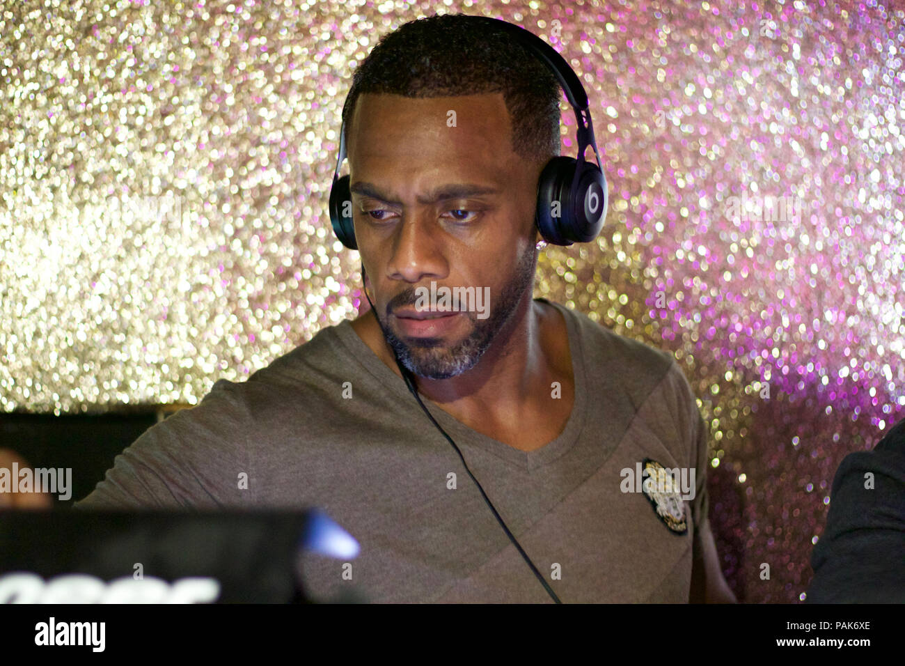 Richard Blackwood plays and old school R & B dj set at Faborje Watford bar and grill. - Stock Image