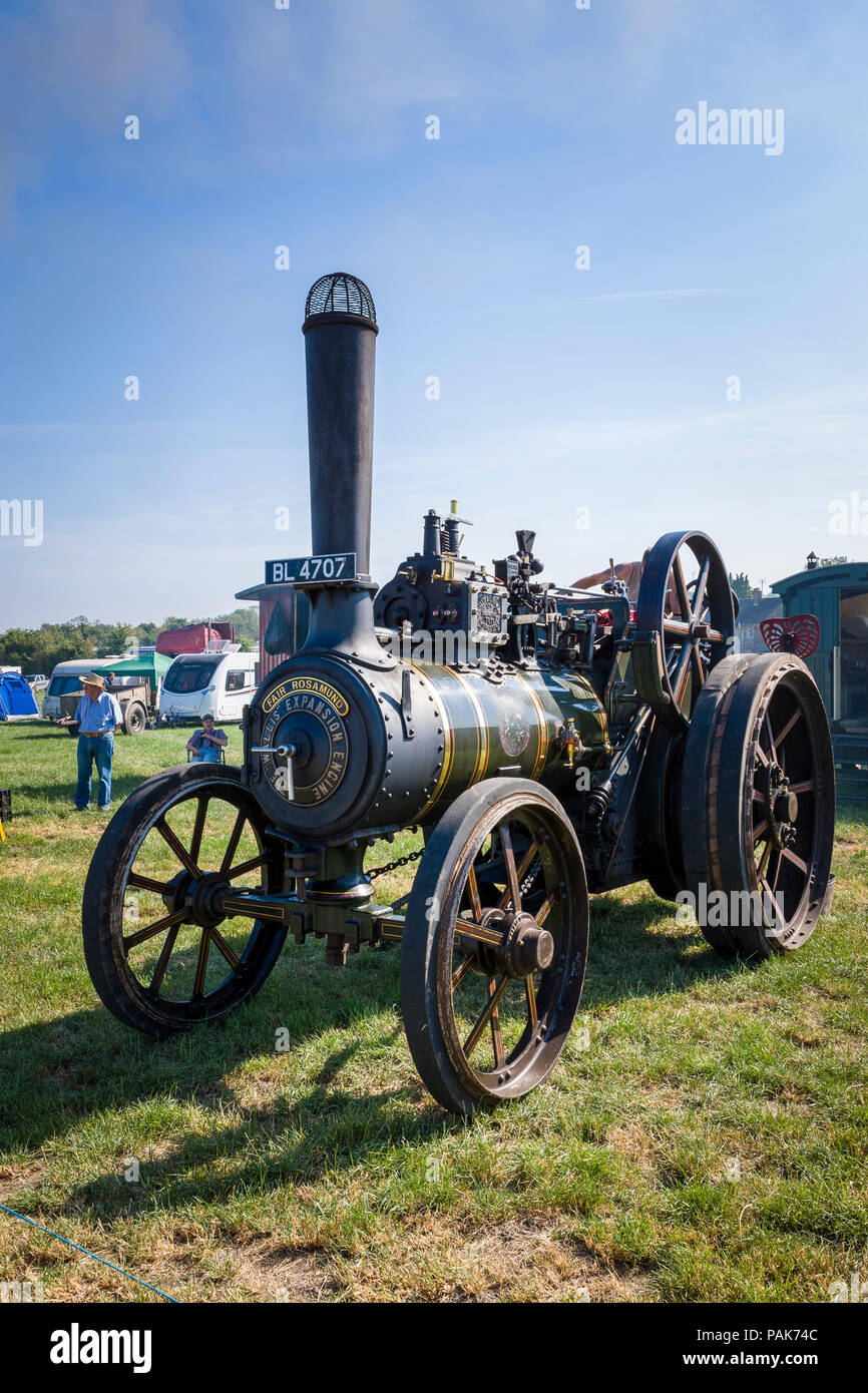 FAIR ROSAMUND a general purpose steam traction engine by Wallis & Steevens operating at Heddingto steam fair in Wiltshire England UK in 2018 - Stock Image