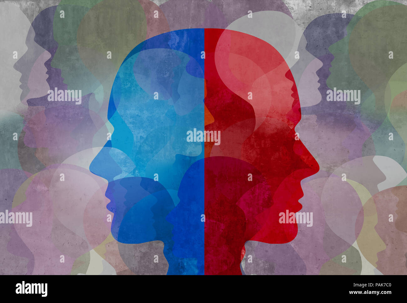 Schizophrenia and split personality disorder and mental health psychiatric disease concept in a 3d illustration style. - Stock Image