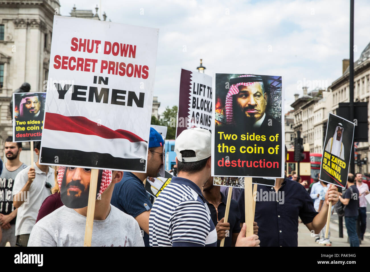 London, UK. 23rd July, 2018. Opponents of a visit to the UK by Qatar's Emir Tamim Bin Hamad Al Thani protest in Parliament Square against Qatari support for extremist and terrorist groups. There was also a smaller counter-protest. Emir Tamim is expected to meet Prime Minister Theresa May during his visit. Credit: Mark Kerrison/Alamy Live News Stock Photo