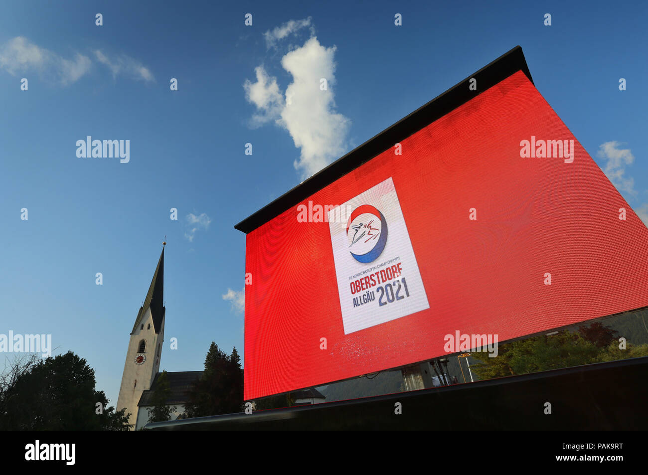 Oberstdorf, Germany. 23rd July, 2018. 23.07.2018, Bayern, Oberstdorf: The logo for the FIS Nordic World Ski Championships 2021 can be seen on a video wall. Credit: Karl-Josef Hildenbrand/dpa/Alamy Live News - Stock Image
