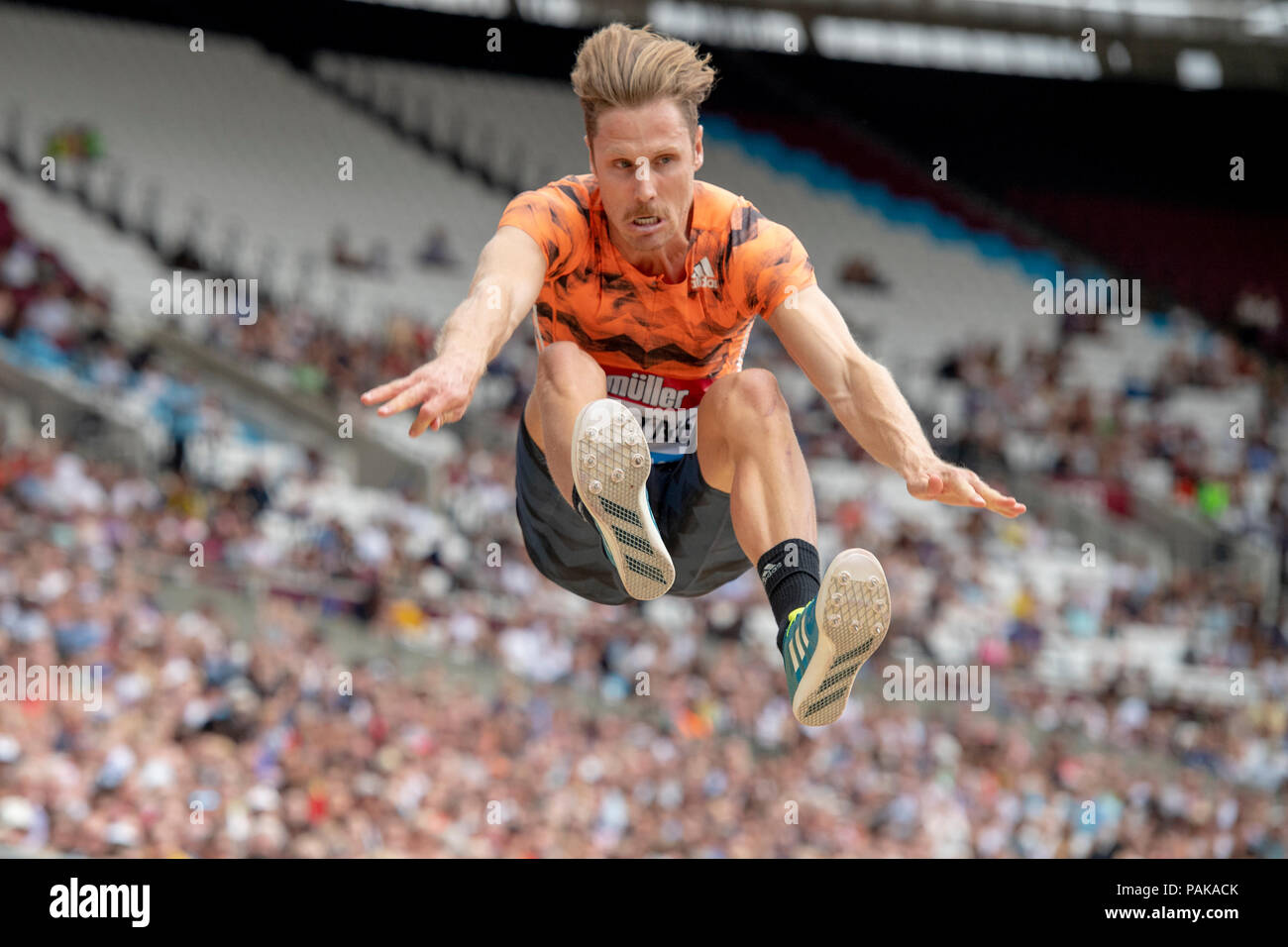 London, UK. 22nd July 2018. Henry Frayne (AUS) Muller Anniversary Games at the London Stadium, London, Great Britiain, on 22 July 2018. Credit: Andrew Peat/Alamy Live News - Stock Image