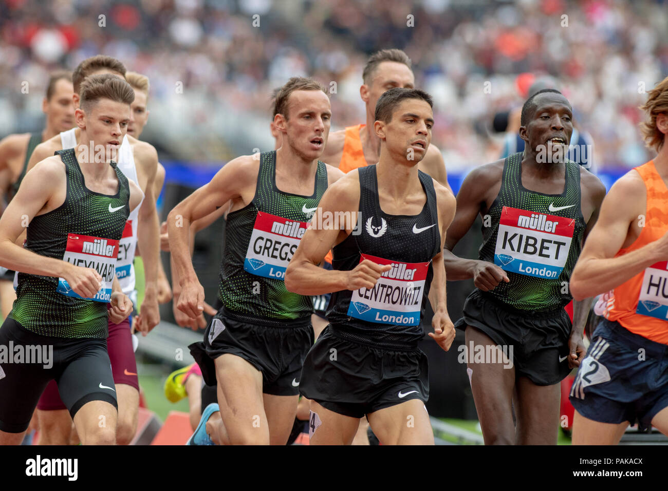 London, UK. 22nd July 2018. Matthew Centrowitz (USA) won the 1500m at the Muller Anniversary Games at the London Stadium, London, Great Britiain, on 22 July 2018. Credit: Andrew Peat/Alamy Live News - Stock Image