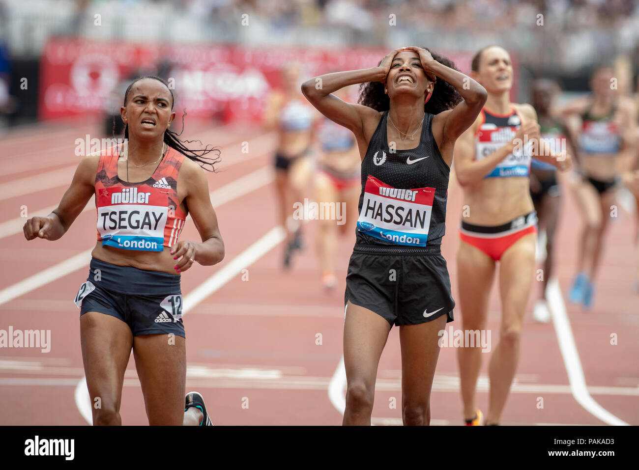 London, UK. 22nd July 2018. Sifan Hassan reacts after winning the Millicent Fawcett Mile at the Muller Anniversary Games at the London Stadium, London, Great Britiain, on 22 July 2018. Credit: Andrew Peat/Alamy Live News - Stock Image