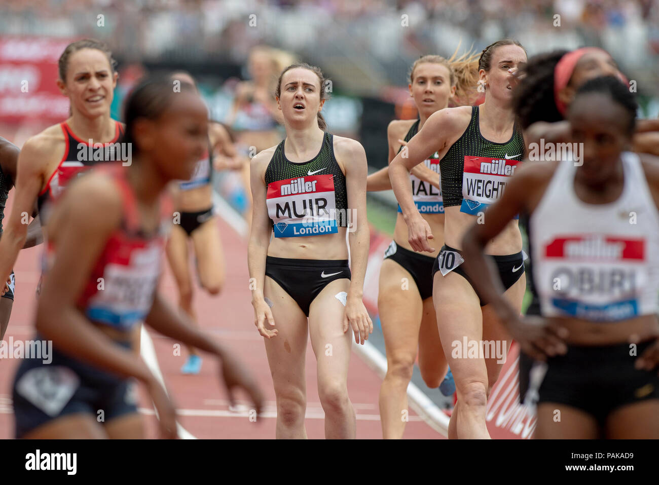 London, UK. 22nd July 2018. Laura Muir (GBR) reacts after a disappointing performance in the Millicent Fawcett Mile at the Muller Anniversary Games at the London Stadium, London, Great Britiain, on 22 July 2018. Credit: Andrew Peat/Alamy Live News - Stock Image