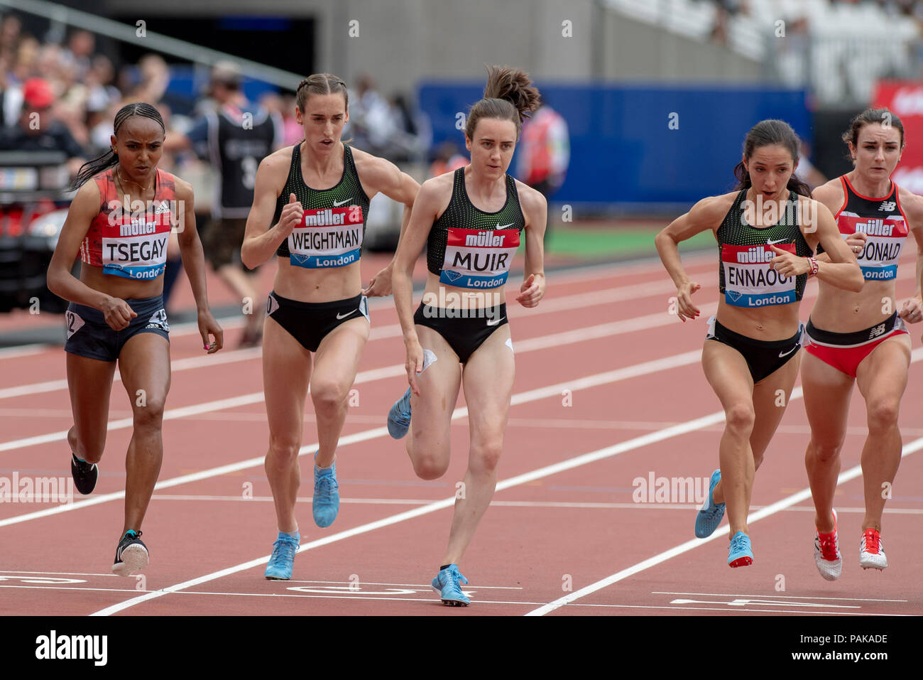 London, UK. 22nd July 2018. A general view of the start of the Millicent Fawcett Mile at the Muller Anniversary Games at the London Stadium, London, Great Britain, on 22 July 2018. Credit: Andrew Peat/Alamy Live News - Stock Image