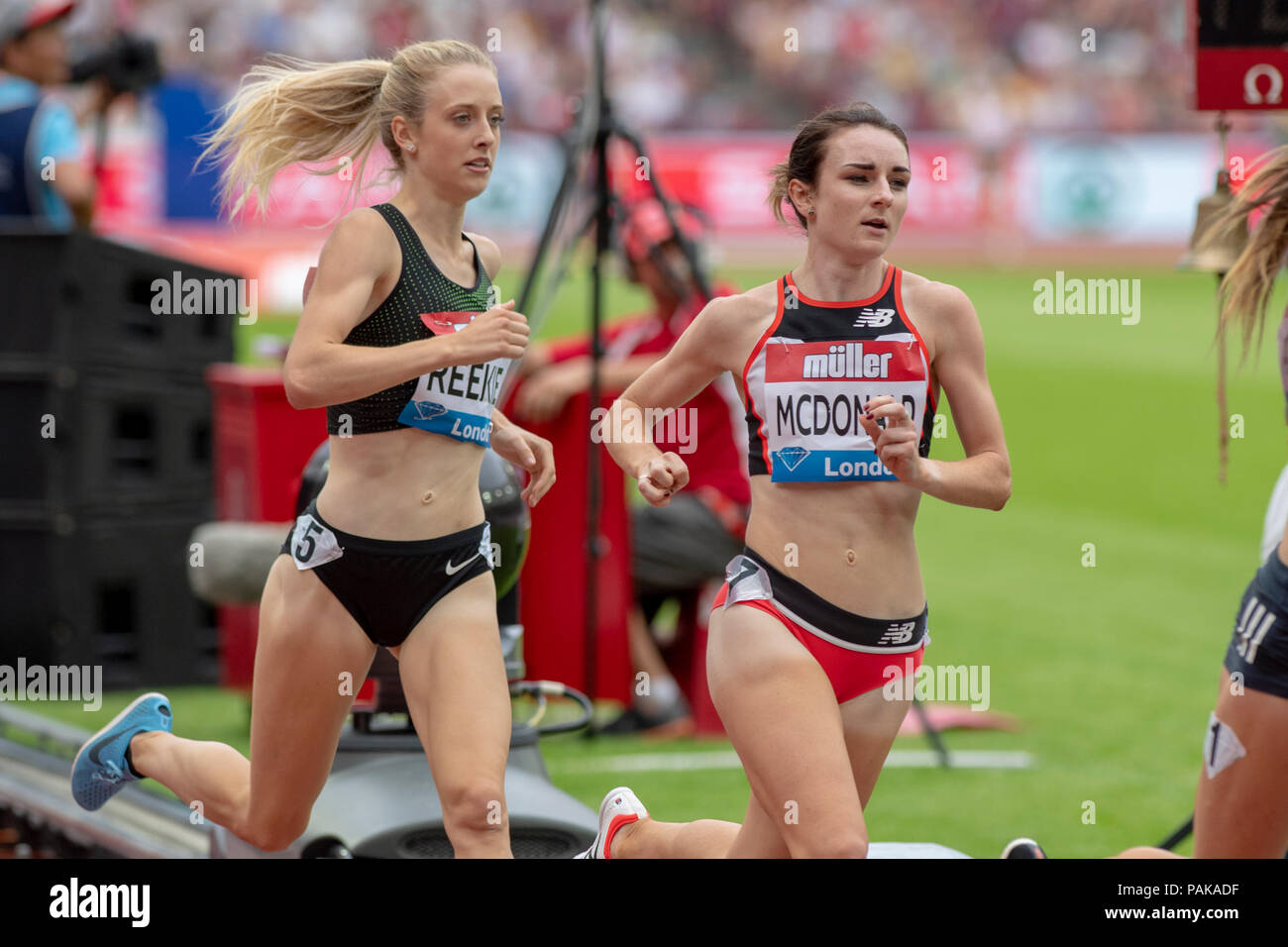 London, UK. 22nd July 2018. Sarah McDonald (GBR) leads Jemma Reekie (GBR) in the Millicent Fawcett Mile at the Muller Anniversary Games at the London Stadium, London, Great Britain, on 22 July 2018. Credit: Andrew Peat/Alamy Live News - Stock Image