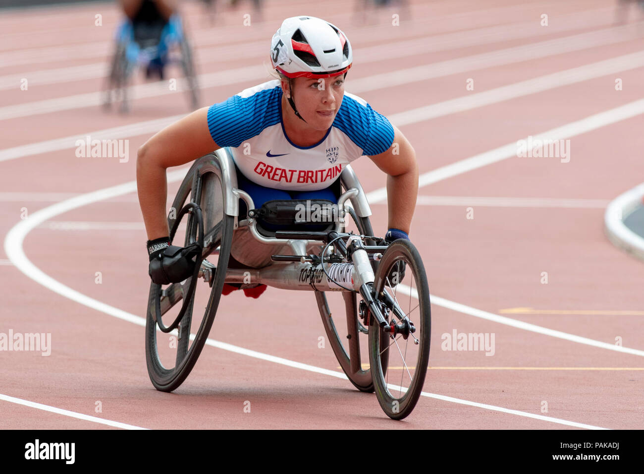 London, UK. 22nd July 2018. Hannah Cockroft (GBR) is pictured during the Muller Anniversary Games at the London Stadium, London, Great Britiain, on 22 July 2018. Credit: Andrew Peat/Alamy Live News - Stock Image