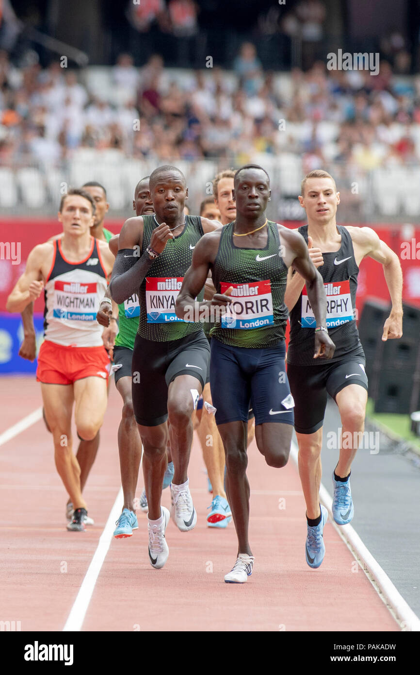 London, UK. 22nd July 2018. Emmanuel Korir (KEN) won the 800m at the Muller Anniversary Games at the London Stadium, London, Great Britiain, on 22 July 2018. Credit: Andrew Peat/Alamy Live News - Stock Image