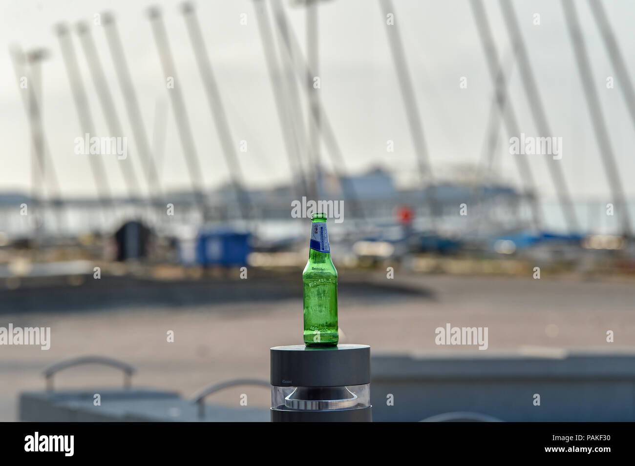 Brighton UK 24th July 2018 - Remnants of the night before on Brighton seafront as the heatwave conditions continue throughout some parts of Britain with an amber warning being issued and people being advised to stay out of the sun during the hottest parts of the day Credit: Simon Dack/Alamy Live News - Stock Image