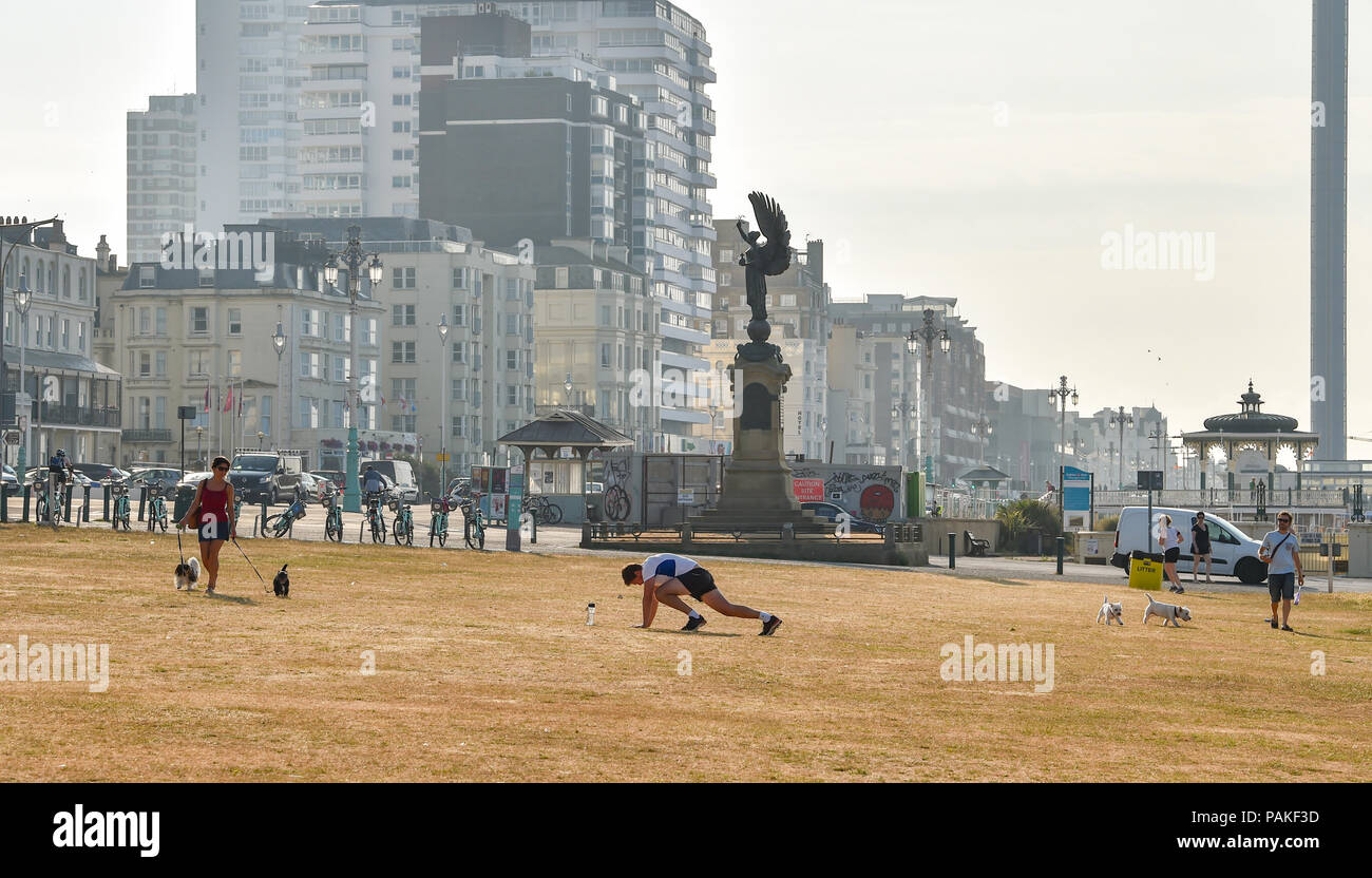 Brighton UK 24th July 2018 - Hove Lawns looks parched in Brighton this morning as the heatwave conditions continue throughout some parts of Britain with an amber warning being issued and people being advised to stay out of the sun during the hottest parts of the day Credit: Simon Dack/Alamy Live News - Stock Image