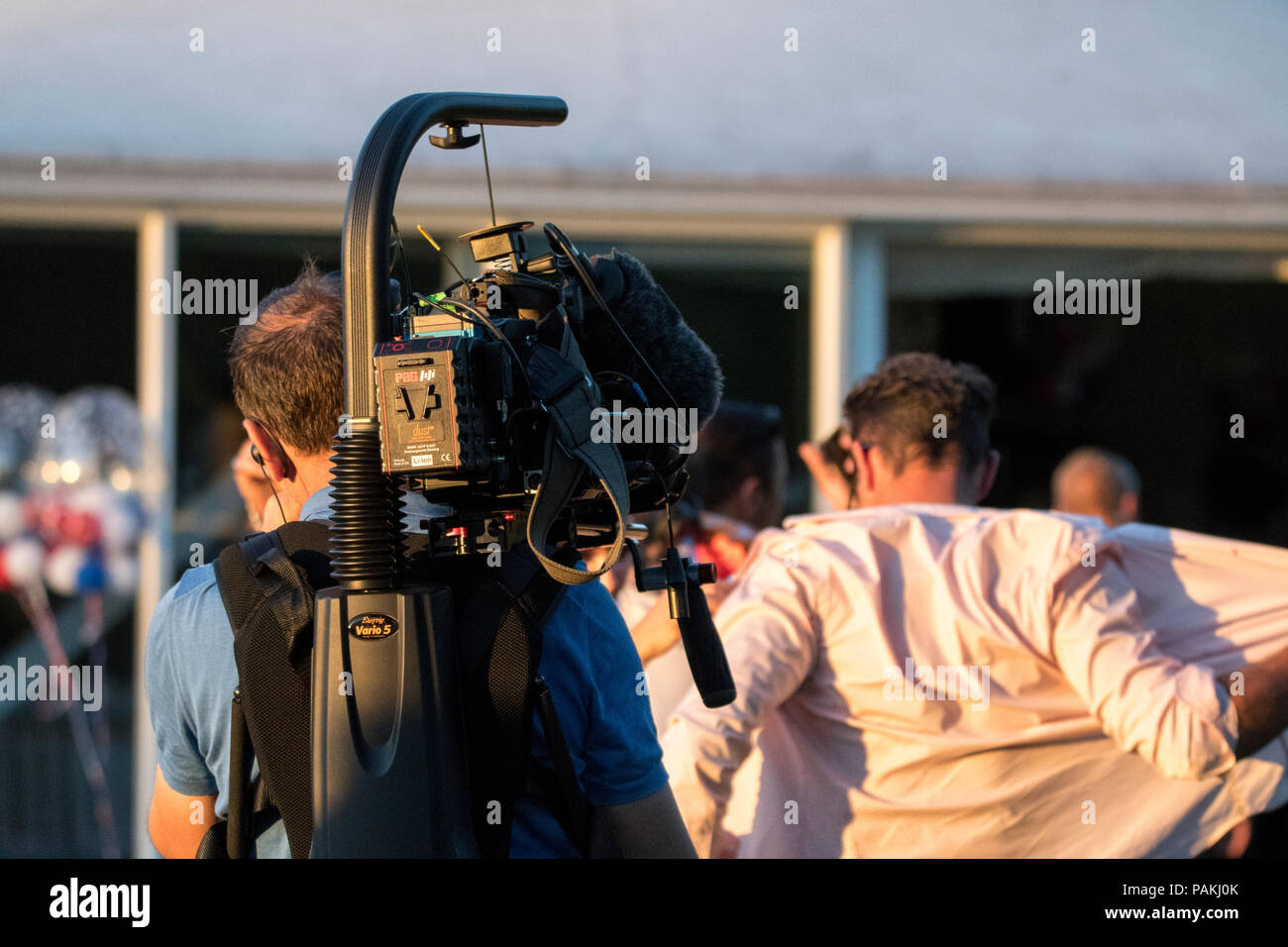 Windsor Racecourse, UK. 23 July 2018 - Cast and crew of new ITV show 'Absolutely Ascot' record at Windsor Racecourse. The casted women could be seen and heard arguing with each other loudly during recording. Credit: Benjamin Wareing/Alamy Live News - Stock Image