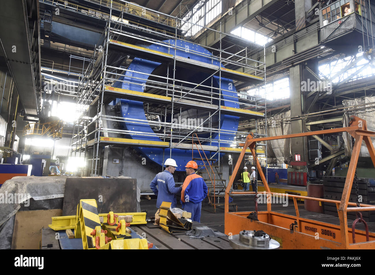 Ostrava, Czech Republic. 24th July, 2018. Press briefing on completion of prestigious project and providing magnet parts of particle accelerator for international nuclear research at Joint Institute for Nuclear Research (JINR) based in Russia took place in Vitkovice Heavy Machinery (VHM) production plant on July 24, 2018, in Ostrava, Czech Republic. (CTK Jaroslav Ozana) - Stock Image