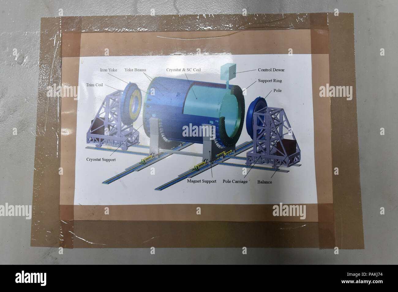 Ostrava, Czech Republic. 24th July, 2018. Press briefing on completion of prestigious project and providing magnet parts of particle accelerator for international nuclear research at Joint Institute for Nuclear Research (JINR) based in Russia took place in Vitkovice Heavy Machinery (VHM) production plant on July 24, 2018, in Ostrava, Czech Republic. On the photo is seen a drawing of the magnet. (CTK Jaroslav Ozana) - Stock Image