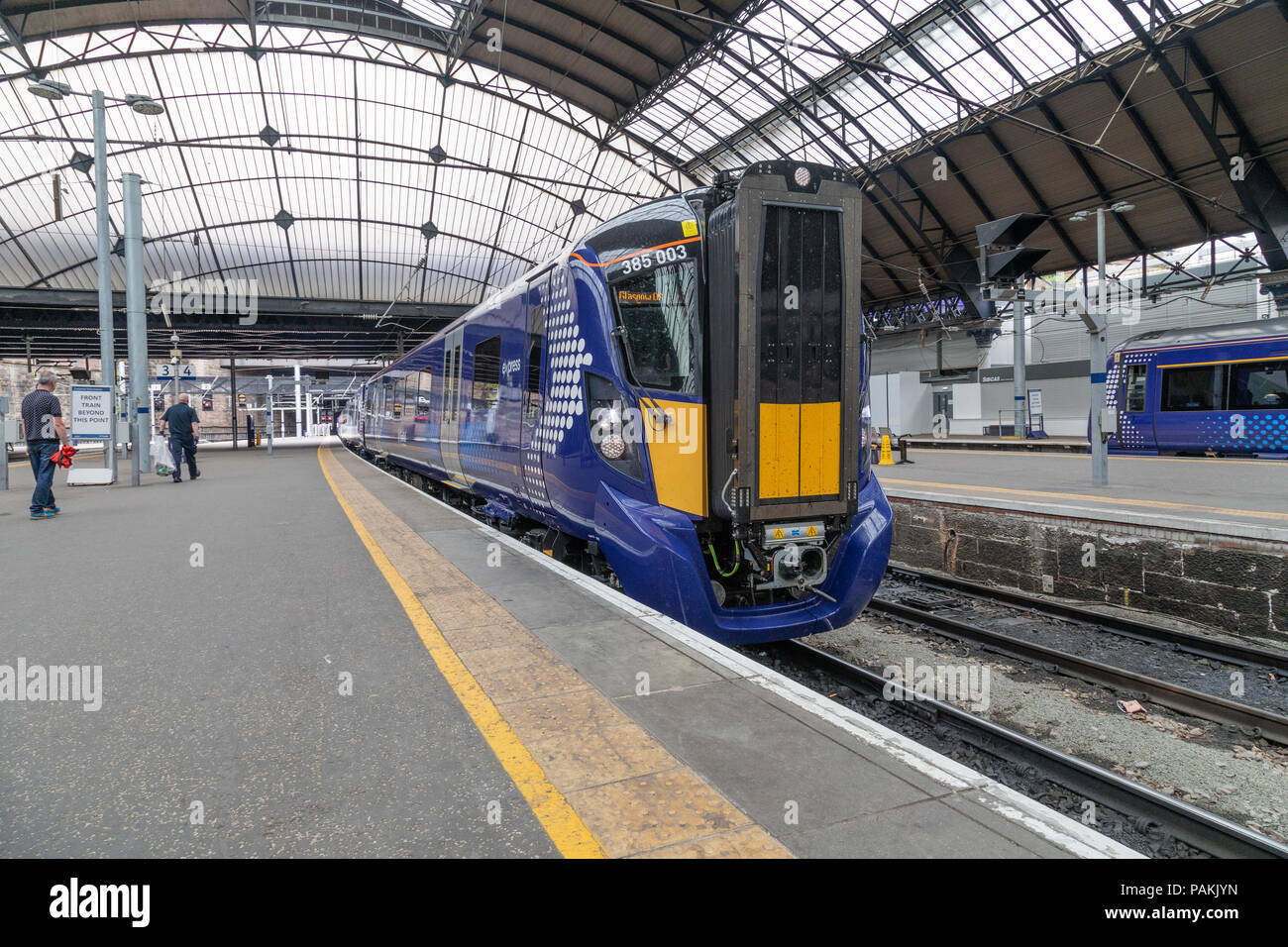 Scotrails brand new Class 385 train at Glasgow Queen Street Station make their debut journey carrying passengers. - Stock Image