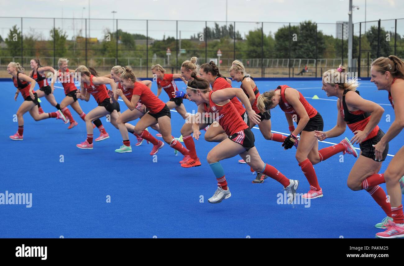 London, UK. 24th July, 2018. The team do sprints during training. England training session. Womens Hockey World Cup 2018. Lee Valley hockey centre. Queen Elizabeth Olympic Park. Stratford. London. UK. 24/07/2018. Credit: Sport In Pictures/Alamy Live News - Stock Image