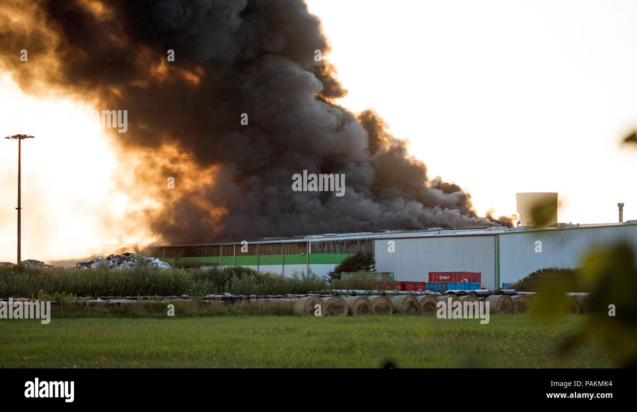 Rostock, Germany. 24th July, 2018. Thick clouds of smoke rise from a recycling yard during a fire. According to a police spokeswoman, initially, there were no casualties. Credit: Frank Hormann/dpa/Alamy Live News Stock Photo