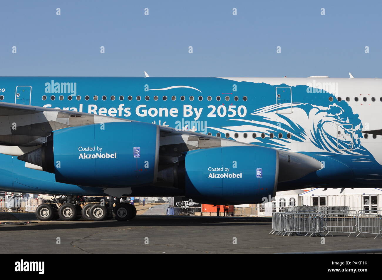 HIFLY AIRBUS A380 IN 'Save The Coral Reefs' livery. Stock Photo