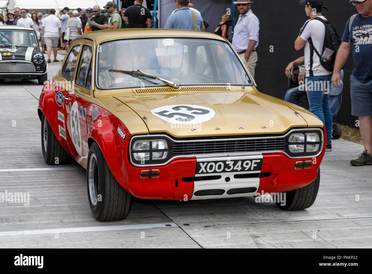 The Allan Mann Racing 1968 Ford Escort Twin Cam with driver Tom Kristensen  in the paddock