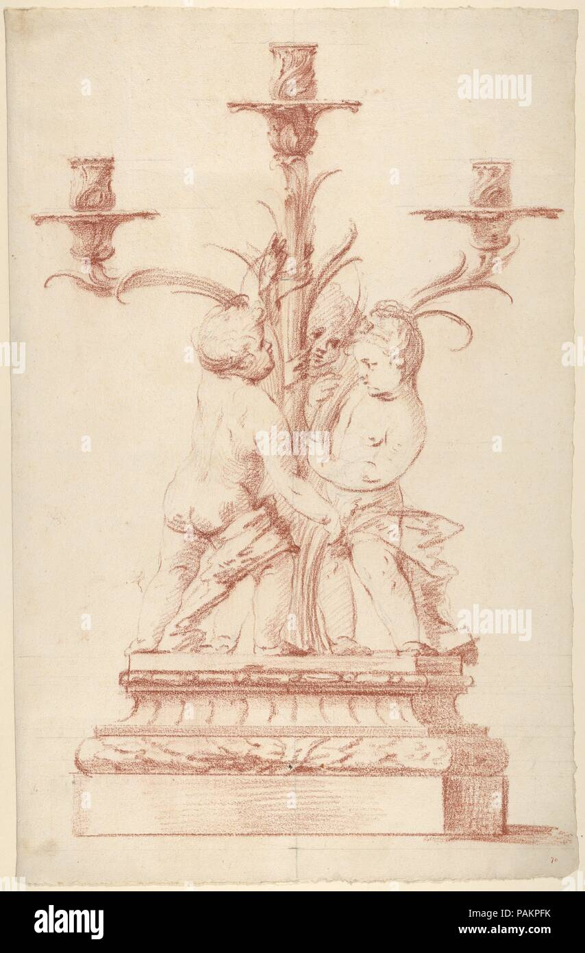 Design for a Candelabra. Artist: Anonymous, French, 18th century. Dimensions: Sheet: 19 in. × 12 1/4 in. (48.3 × 31.1 cm). Former Attribution: Formerly attributed to Edme Bouchardon (French, Chaumont 1698-1762 Paris). Date: ca. 1760-70.  The idea of using the elements from nature to shape the design of an object is also reflected in this French design for a candelabrum. Its body is shaped like a plant with three stems, growing in different directions and forming the arms to support the candles. Three children or cherubs are playing at the foot of the stem. Designs like this one were often exec - Stock Image