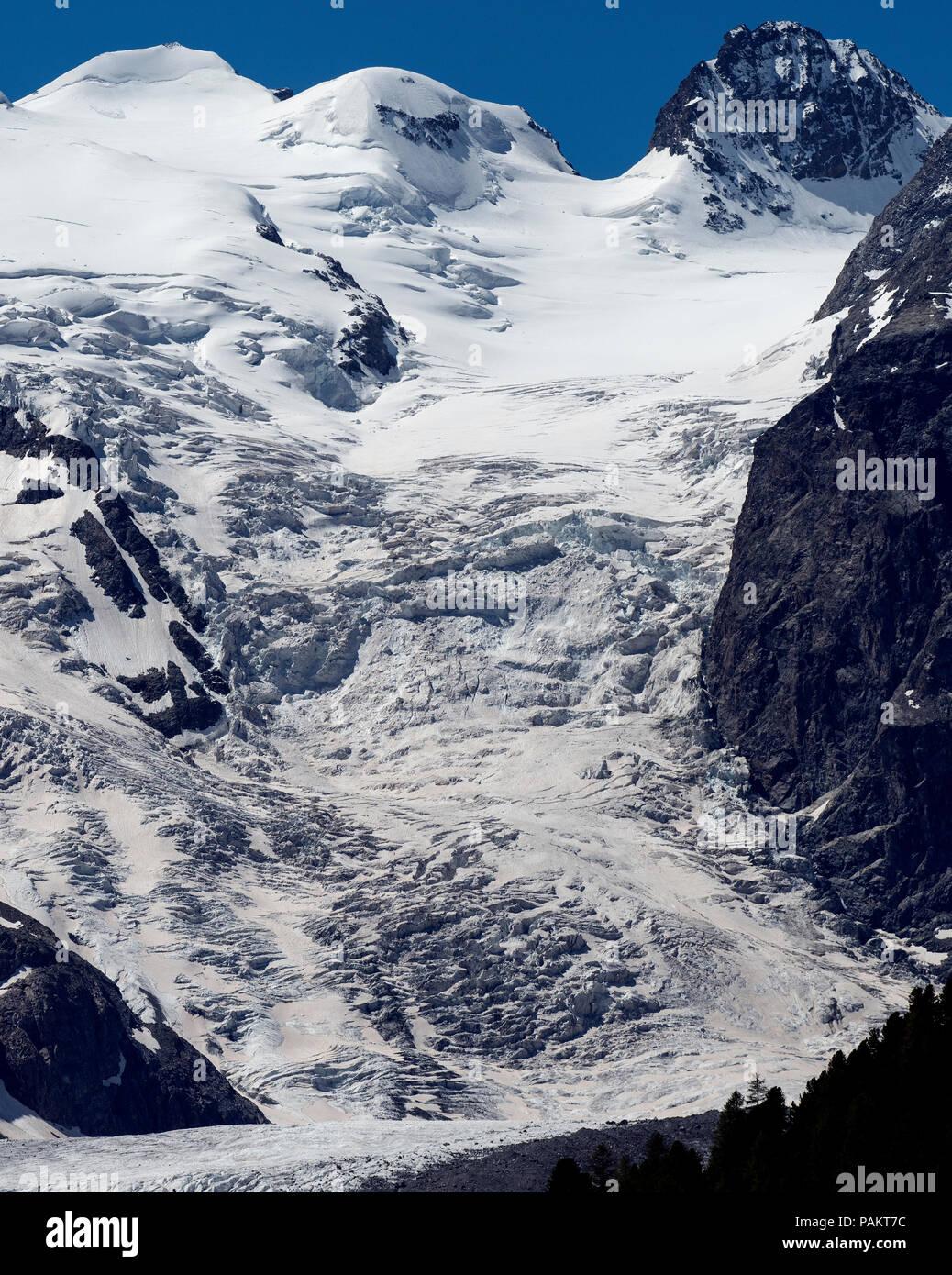 The Morteratschgletscher is a Alps - Glacier in the Bernina range in the canton of Grisons in Switzerland near the Diavolezza ski route. Piz Zupo top  - Stock Image