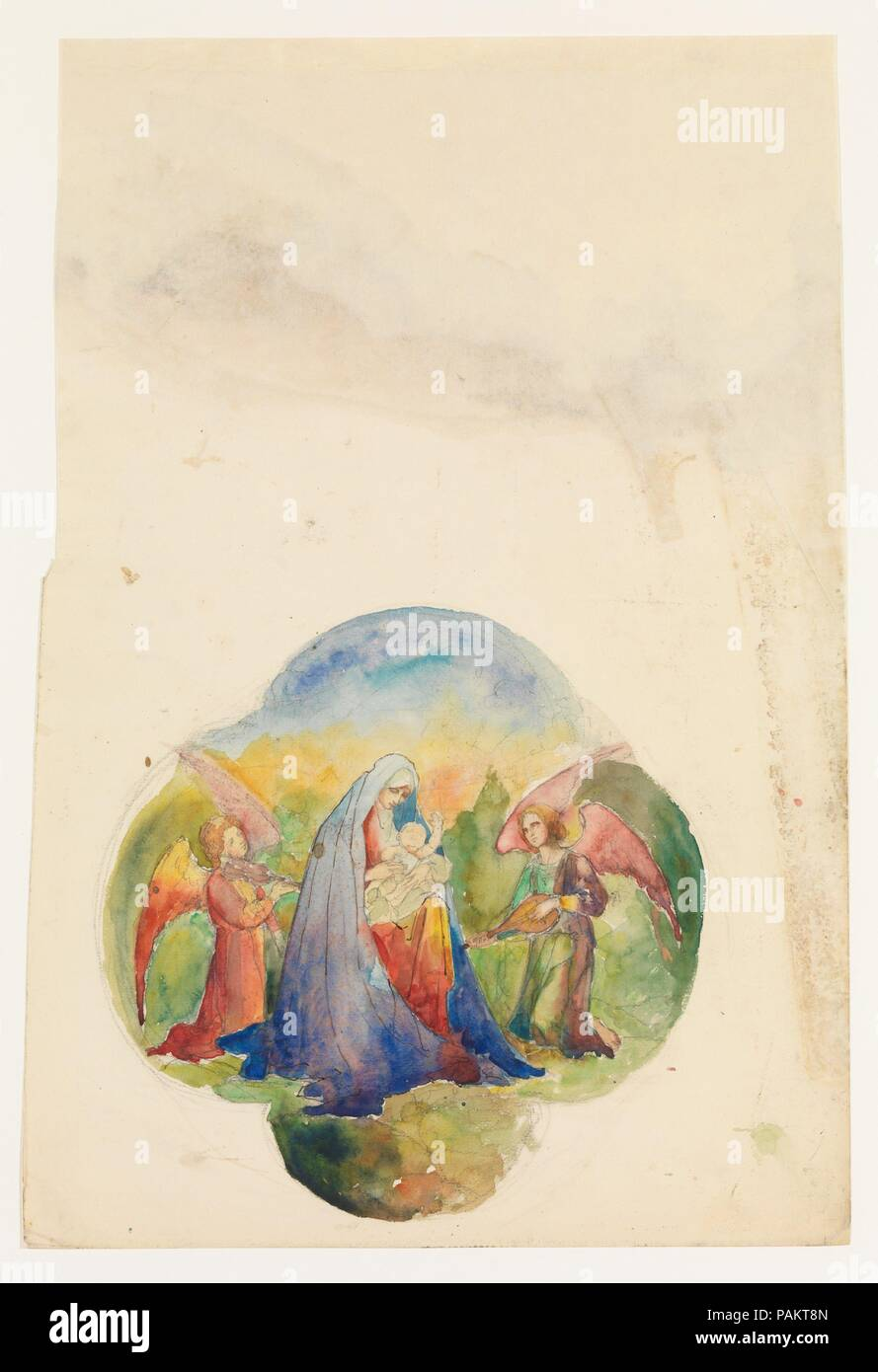 Design for quatrefoil window. Artist: Louis Comfort Tiffany (American, New York 1848-1933 New York). Culture: American. Dimensions: Overall: 21 3/4 x 14 13/16 in. (55.2 x 37.6 cm)  Other (Design): 11 x 11 in. (27.9 x 27.9 cm). Maker: Possibly Tiffany Glass and Decorating Company (American, 1892-1902); Possibly Tiffany Studios (1902-32); Possibly Tiffany Glass Company (1885-92). Date: late 19th-early 20th century. Museum: Metropolitan Museum of Art, New York, USA. - Stock Image
