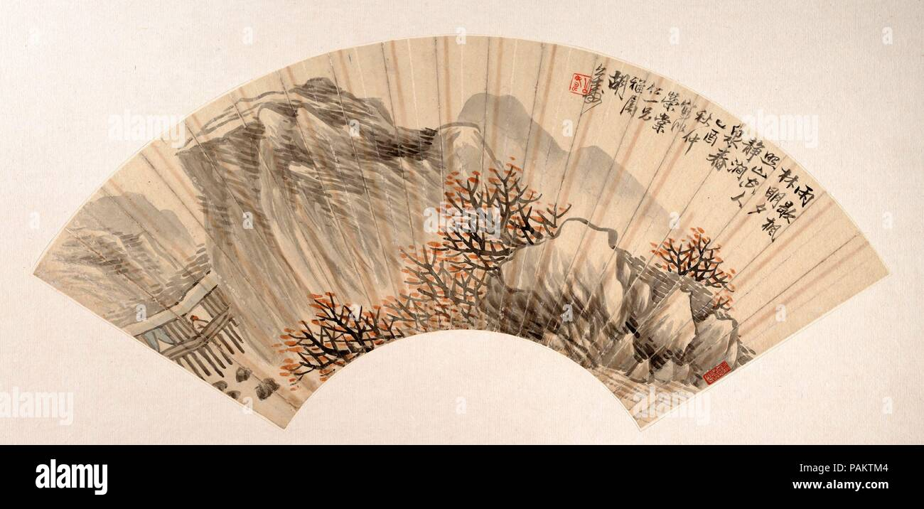 Landscape. Artist: Hu Yuan (Chinese, 1823-1886). Culture: China. Dimensions: 6 15/16 x 20 1/4 in. (17.6 x 51.4 cm). Date: dated 1885.  Hu Yuan's fan is inscribed as follows:  The rains cease and the maple forest  turns bright in the sunset.  On the   deserted mountain a lonely man is  refreshed by the spring run.  [Trans. from Ellsworth et al., Later Chinese Painting]. Museum: Metropolitan Museum of Art, New York, USA. - Stock Image