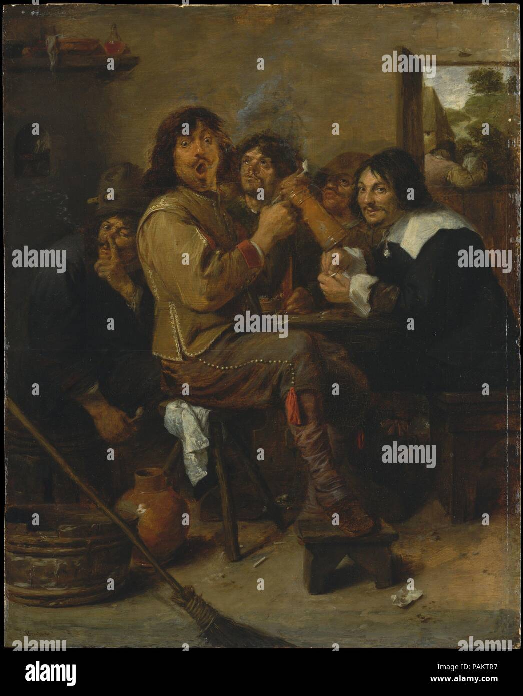The Smokers. Artist: Adriaen Brouwer (Flemish, Oudenaarde 1605/6-1638 Antwerp). Dimensions: 18 1/4 x 14 1/2 in. (46.4 x 36.8 cm). Date: ca. 1636.  The Fleming Brouwer worked in Haarlem and Amsterdam before joining the Antwerp painters' guild in 1621-32. HIs sheer talent and flair for human comedy earned the short-lived artist the esteem of Rubens and Rembrandt. In this famous picture, Brouwer himself (center foreground) plays one of his usual tavern habitués, with the still-life painter Jan de Heem (right) and more derelict companions serving as a chorus of smokers. Ephemeral effects, ranging  - Stock Image