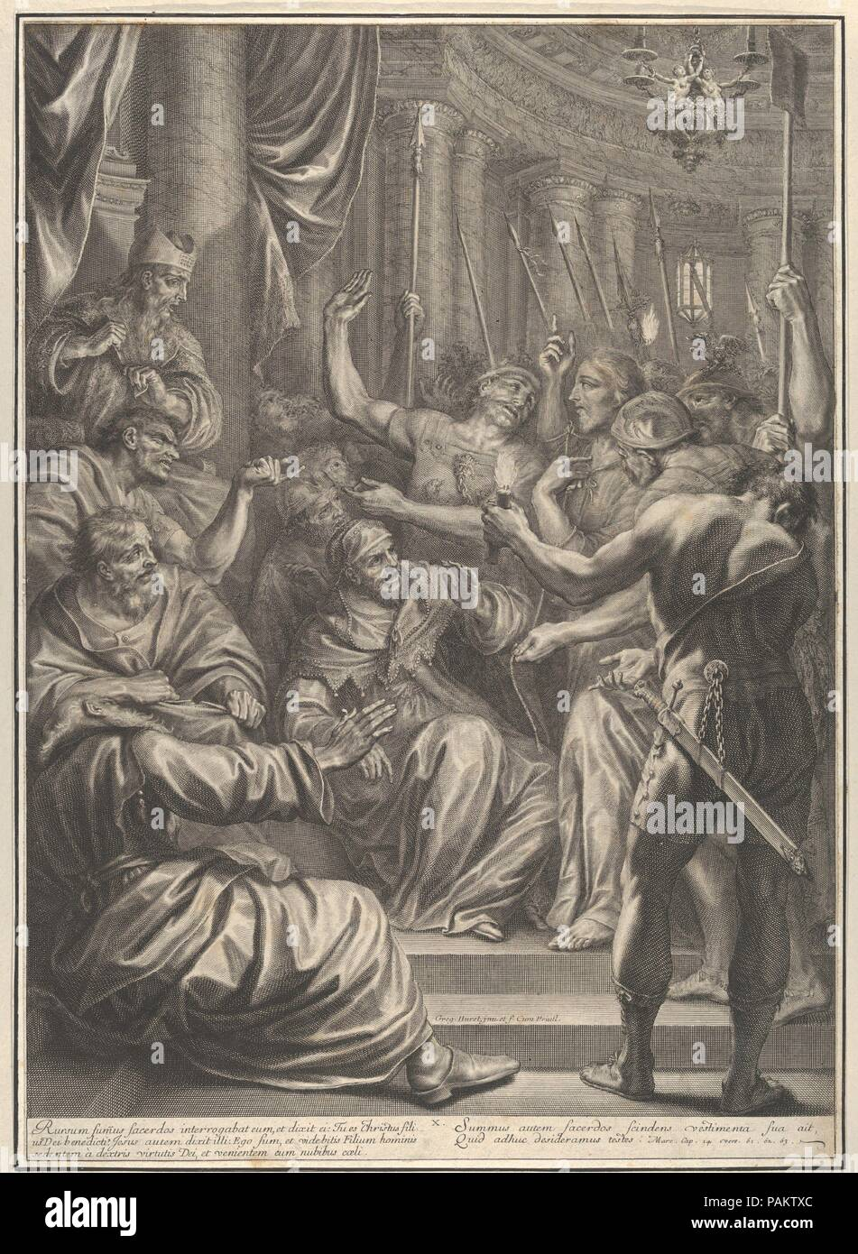 Christ Before Caiaphas, from The Passion of Christ, plate 10. Artist: Grégoire Huret (French, Lyon 1606-1670 Paris). Dimensions: Sheet: 19 3/4 × 14 3/16 in. (50.2 × 36 cm). Series/Portfolio: The Passion of Christ. Date: 1664. Museum: Metropolitan Museum of Art, New York, USA. Stock Photo