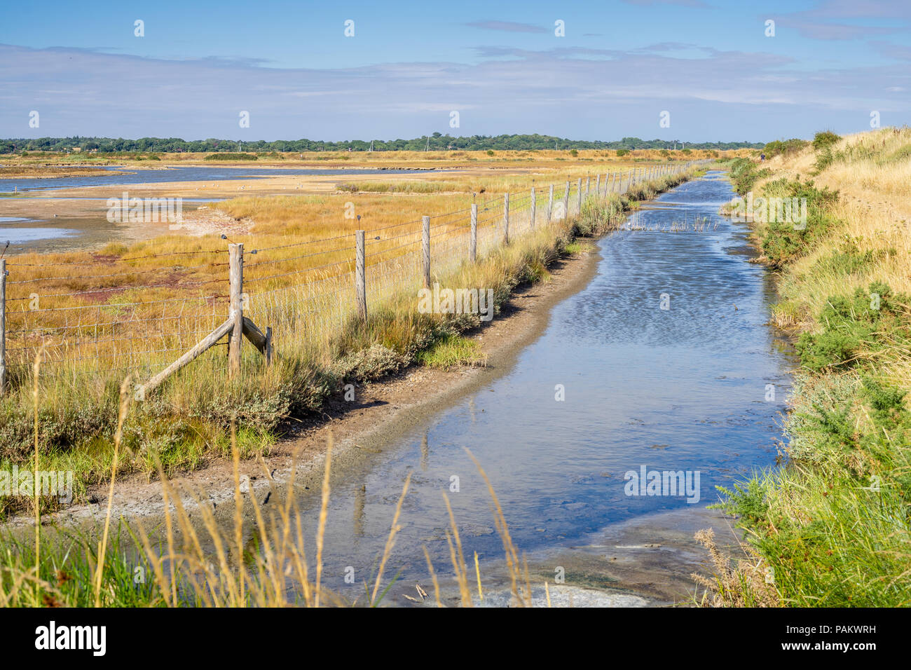 View over Lymington and Keyhaven Marshes Nature Reserve during very dry weather conditions in July 2018, Lymington, Hampshire, England, UK - Stock Image