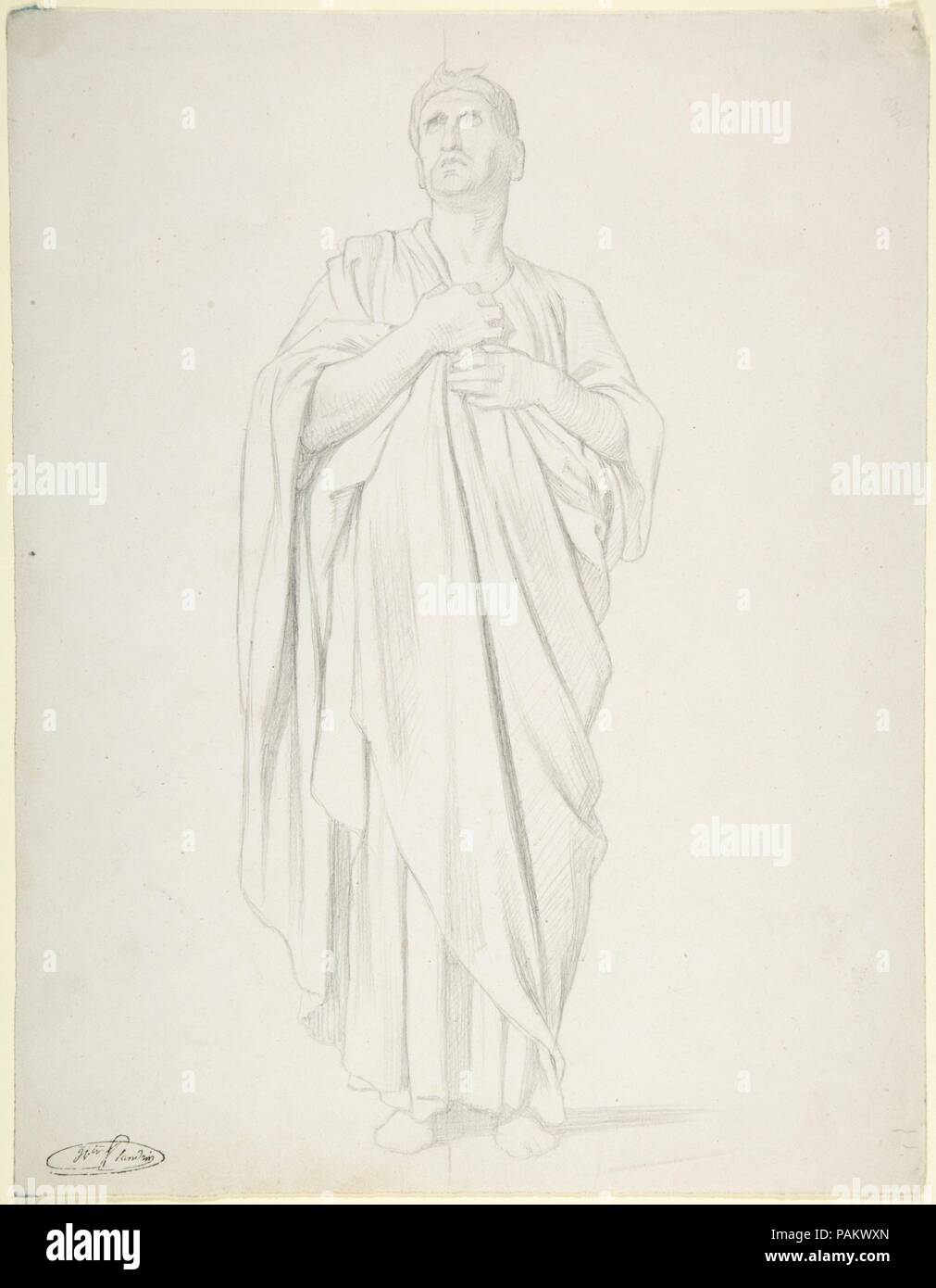 Study of an Apostle, for the painting of the Ascension in Saint-Germain-des-Pres, Paris (1839-1863). Dimensions: 11 1/16 x 8 9/16 in. (28.1 x 21.8cm). Draftsman: Hippolyte Flandrin (French, Lyons 1809-1864 Rome). Date: 1822-64. Museum: Metropolitan Museum of Art, New York, USA. - Stock Image